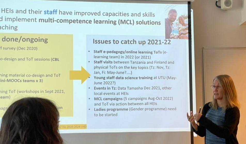 Picture shows Niina Käyhkö's presentation about the activities to ctach up in the project for 2021 and 2022, including e.g. trainings, events, and gender programme